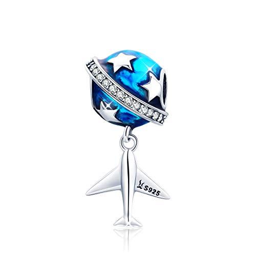 Abalorio de plata de ley 925 con diseño de estrella y avión y esmalte azul, compatible con pulseras o collares europeos.