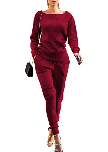 Womens Fall Rib-Knit Pullover Sweater Top & Long Pants Set 2 Piece Outfits Tracksuit (Wine Red, XXL)