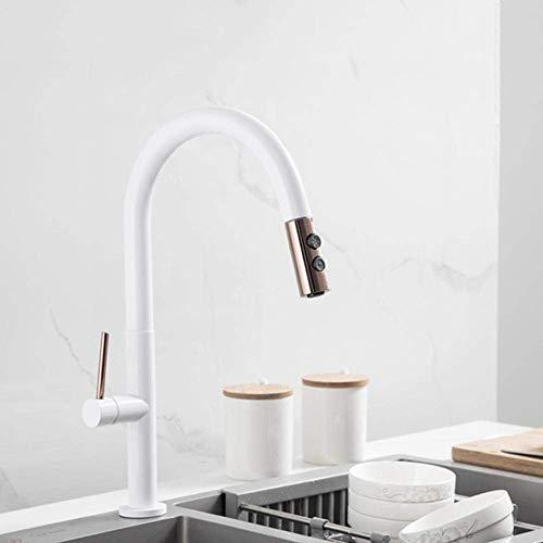YBQ. Küchenarmaturen mit ausziehbarem Messing 2-Mode 360 ° drehbar heiß und kalt Einloch Einhand-Weiß (Color : 1-White)