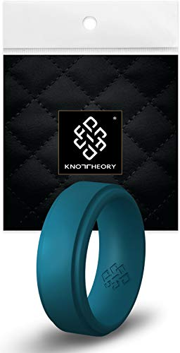 Knot Theory Breathable Mens Silicone Ring Teal Blue Green - Step Edge 9mm Wide...