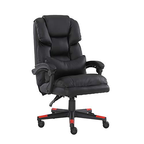 Bürostuhl / Chefsessel, ergonomisch, mit Armlehnen, verstellbar, hohe Rückenlehne, groß und hoch, Schwarz