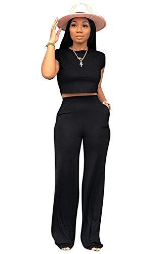 Women's Sexy Bodycon 2 Piece Outfits Set Wide Leg Pants Slim Crop Top Shirts Jumpsuit