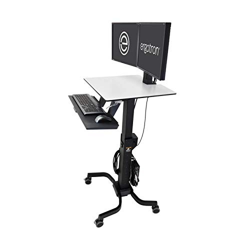 Ergotron – WorkFit-C Dual Sit-Stand Workstation – for Mobile Computing – Black and Grey