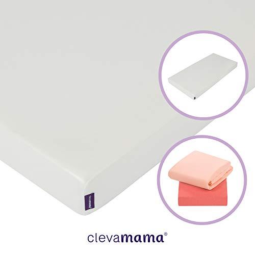 ClevaMama Materasso Lettino Antiallegico e Set con 2 Lenzuola Lettino in Cotone Corallo, 60 x 120 cm (bundle)