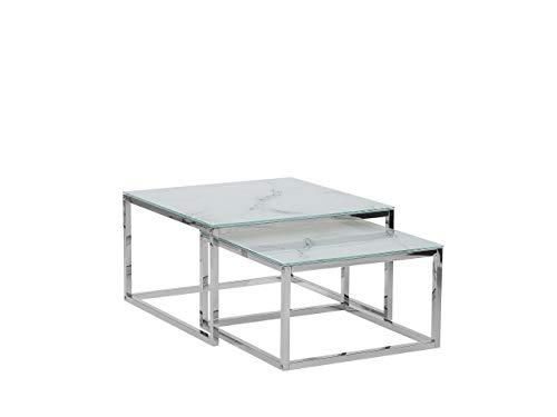 Moderner Couchtisch im 2er Set mit Glastischplatte in Weiß Marmor Optik Brea