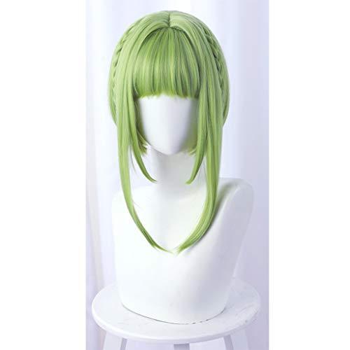 HNWNJ WC-Atado Hanako-kun (Nanamine Sakura) Anime Cosplay Verde Bobo Recto Corto de Pelo de Alta Temperatura Resistente Fibra Peluca, for Las Muchachas de Las Mujeres