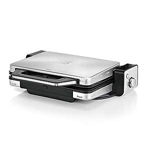 WMF Lono Kontaktgrill 2-in-1, Tischgrill elektrisch, 2 Grillplatten, herausnehmbare Auffangschale, spülmaschinenfest, Edelstahl, 2100 W