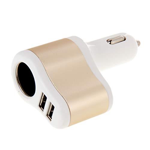 Auto-oplader, 3 in 1, hoge snelheid, 5 V, 3,1 A, dubbele USB-hub en alleen sigarettenaansteker, geschikt voor smartphones en tablets. Kleur: zwart.