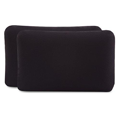 Kissenbezug Doppelpack (2er Set, Schwarz uni) für Reisekissen oder Kinderkissen mit den Maßen 40x25 cm, speziell für VOLAR – 100% Baumwolle, nahtlos gestrickt, guter Fit, mit Reißverschluss