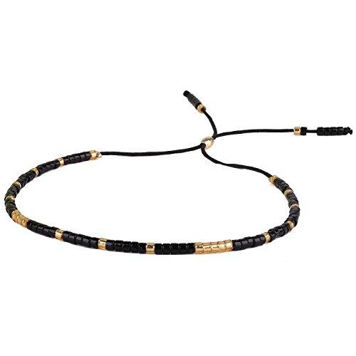 KELITCH Schwarz Achat Gold Perlen Armband Handmade Neu Freundschaft Schmuck Armreifen (Schwarz)