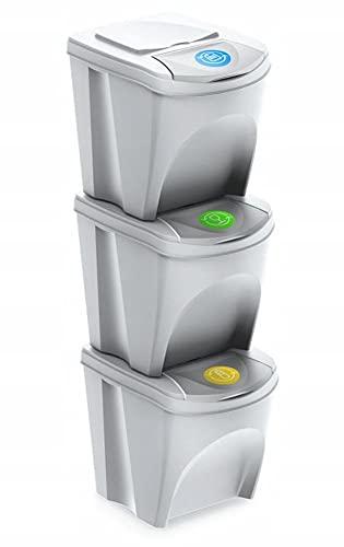 Mülleimer Abfalleimer Mülltrennsystem 75L - 3x25L Behälter Sorti Box Müllsortierer 3 Farben von rg-vertrieb (Weiß)