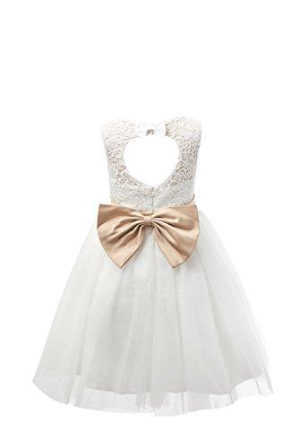 Miama Ivory Lace Tulle Keyhole Back Wedding Flower Girl Dress Junior Bridesmaid Dress 3T