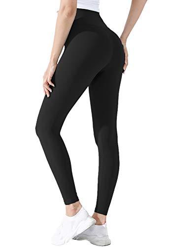 INSTINNCT Sport Legging Donna Push-up Pantaloni Elasticizzati Vita Alta Calzamaglia Dimagrante Legging Confortevole per Yoga Palestra Fitness #2 Nero di Base M
