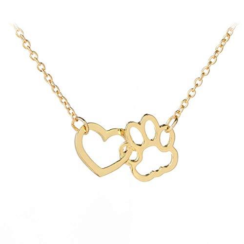 Hueco de la pata del animal doméstico Huella Collares joyería collar de perro de animal linda Amor del gato de corazón colgante de collar for muchachas de las mujeres Accesorios ( Metal Color : Gold )