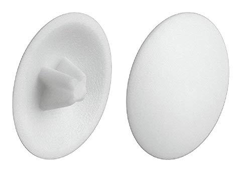 Gedotec Verschluss-Stopfen weiß Schrauben-Abdeckungen Kunststoff Schrauben-Kappen zum Einpressen | H1122 | Ø 12 mm | Kreuzschlitz | 50 Stück