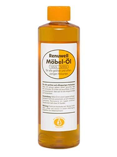 1 Flasche mit 500 ml Renuwell Möbel-Öl für alle geölten und offenporigen Holzarten/Farbe: natura-farblos
