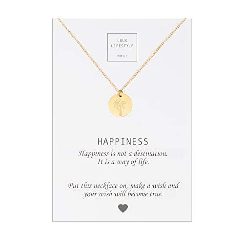 LUUK LIFESTYLE Edelstahl Halskette mit Palmen Anhänger und Happiness Spruchkarte, Glücksbringer, Damen Schmuck, gold