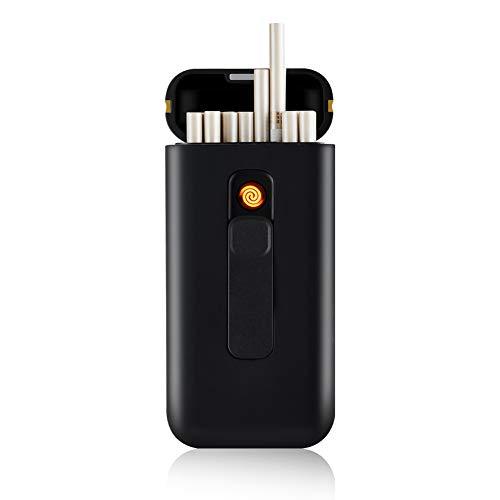 Zigarettenanzünder Tragbar 20 Stück 100 Stück Schmale Zigaretten USB-Feuerzeuge 2 in 1 Wiederaufladbar Flammenlos Windfest Elektrisches Feuerzeug (Black)
