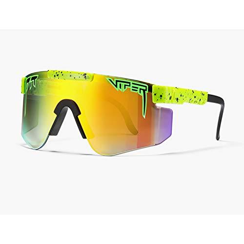 Tletiy Ciclismo Al Aire Libre UV400 Gafas De Sol Polarizadas Viper Marco Ligero Tr90 Doble Ancho Polarizado con Espejo para Hombres Y Mujeres Gafas con Protección UV para Hombres Y Mujeres