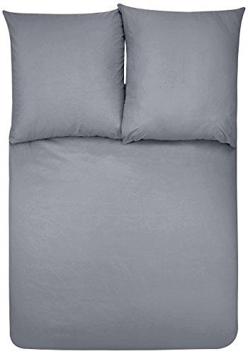 Amazon Basics Duvet Set, Dunkelgrau, 155cmx200cm/ 80cmx80cmx2