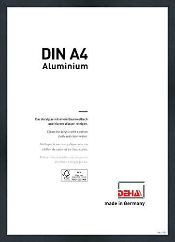 DEHA Aluminium Bilderrahmen Tribeca, 21x29,7 cm (A4), Struktur Schwarz Matt