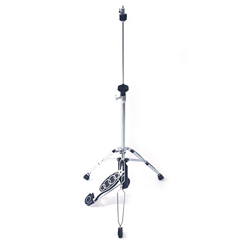 Kuyal Foldable Portable Hi-Hat Stand,Pedal Control Style Drum Hi-Hat Cymbal Stand with Pedal Silver & Black (Hi-Hat Stand)