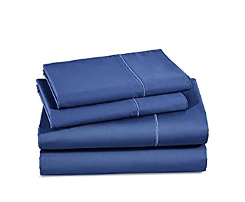 600 Thread Count 100% Cotton Sheet - Dark Blue - Full Sheet Set - 4 Piece Long Staple Combed Cotton Sheet Breathable Ultrasoft Feathery Touch & Silky Sateen Weave Fits Mattress Upto 18  Deep Pocket
