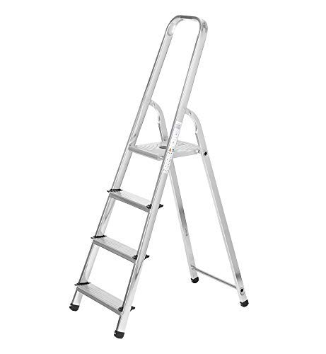 Packer PRO - Escaleras Plegables Aluminio 4 Peldaños de Tijera Super Resistente hasta 150Kg, Acero y Aluminio Antideslizantes, Altura de Trabajo hasta 280cm