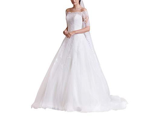 Elegant Damen Hochzeitskleider Lang Spitzen Brautkleider Tülle A-Linie Brautmode mit Schleppe Weiß 48