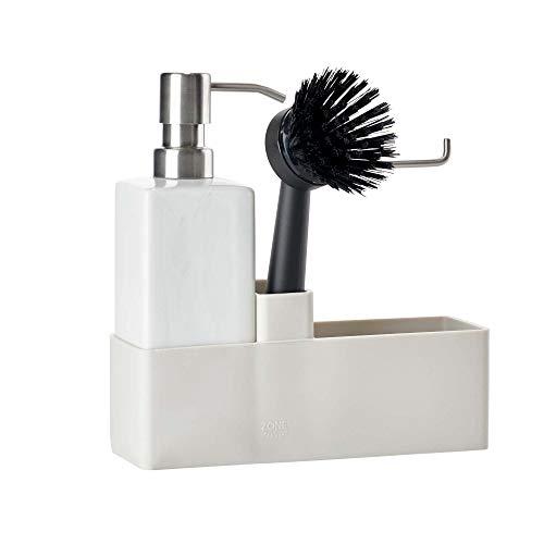 Zone Denmark 352175 - Spazzola per la pulizia, contenitore in ceramica, spazzola in silicone, colore: grigio