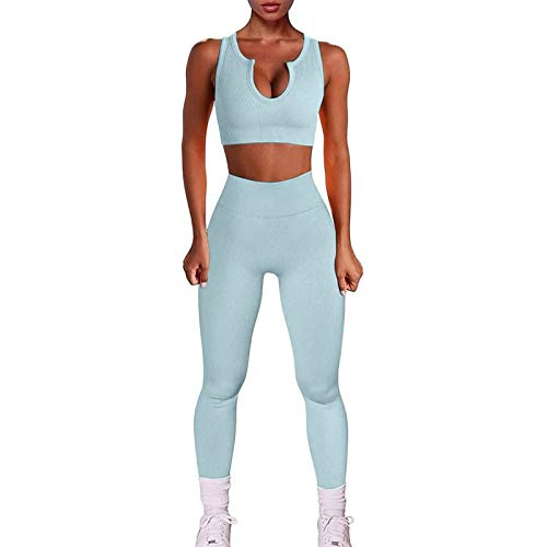 AFFGEQA Damen Yoga-Set Fitness Zweiteiligen Tops Weste Gewinde Crop Shorts Hohe Taille Yoga Shorts Leggings Outfits Trainingsanzug Activewear Set Lange Leggings