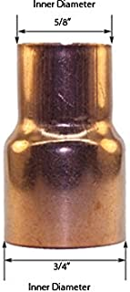 Libra Supply 3/4 x 1/2 inch(Nominal Size) Copper Bushing Fitting Reducer, FTG x C, (Pack of 10 pcs, click in for more size options), 3/4'' x 1/2'', 3/4 x 1/2-inch Copper Pressure Pipe Fitting Supply