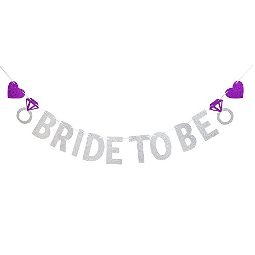Karoo Jan Bride To Be Banner with Diamond Ring Silver Glitter Engagement Party Wedding Party Supplies Decoration.