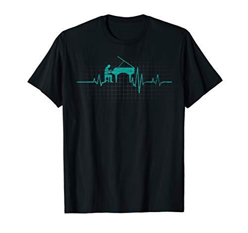 Flügel Pianist Piano Geschenk Herzschlag Klavier T-Shirt