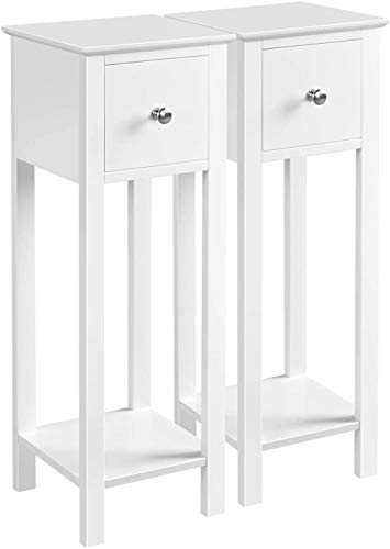 Bedside Tables Set of 2 Nightstand with 1 Drawer Slim Tall Telephone Table Hallway Side Table Wooden White 25 x 25 x 70 cm