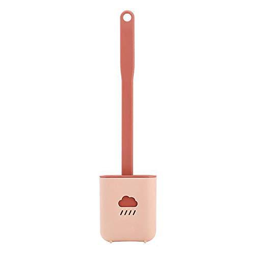 Escobilla de inodoro con soporte, cepillo de baño montado en la pared y soporte de secado rápido, mango largo para higiene-rosa_talla única