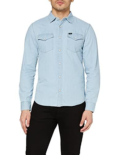 Lee Clean Western Shirt Camisa Vaquera, Azul (Faded Blue SQ), Medium para Hombre