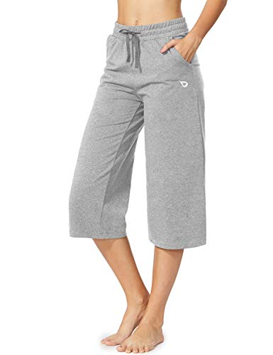 BALEAF Women's Active Yoga Lounge Indoor Jersey Capri Pocketed Walking Crop Pants Light Grey Size XL