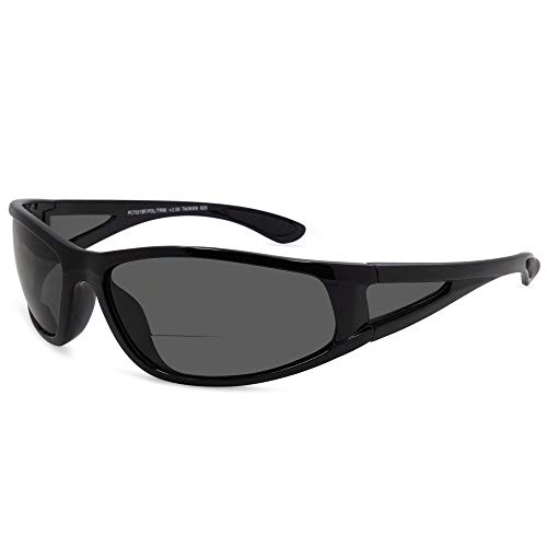 In Style Eyes Del Mar Polarized Wrap Nearly Invisible Line Bifocal Sunglass Readers Glossy Black 2.50