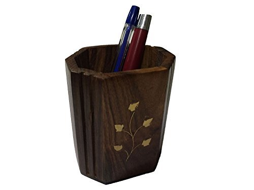 Affaires Wooden Hand Carved Pen Pencil Stand Holder (4 Inches) with Brass Inlay, Office Desk Organizer Gift for Christmas or Birthday W-40028