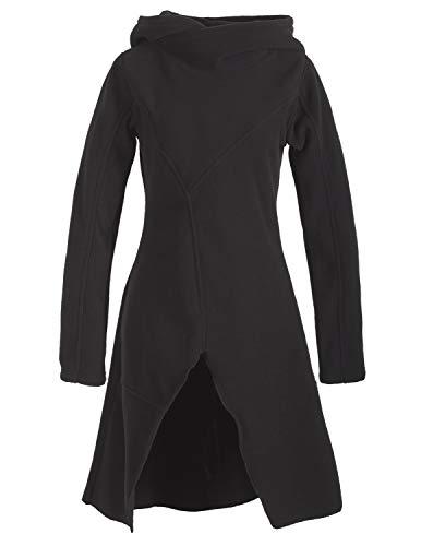 Vishes - Alternative Bekleidung - Warmes Langarm Damen Winter Recycling Fleecekleid mit Kapuze schwarz 42