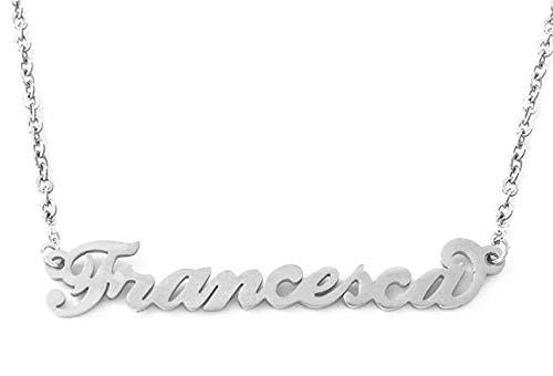 BENNY2000 Collana Donna con Nome in Acciaio, in CORSIVO Elegante, Girocollo Regolabile Anallergico Color Argento- Arriva con Confezione Regalo (Francesca)