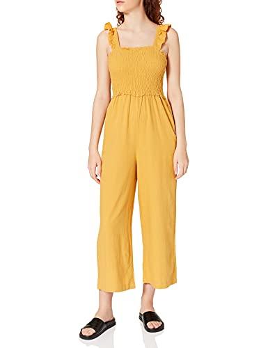 Springfield Mono Lino Volantes Pantalones, Amarillo/Off White, 34 para Mujer