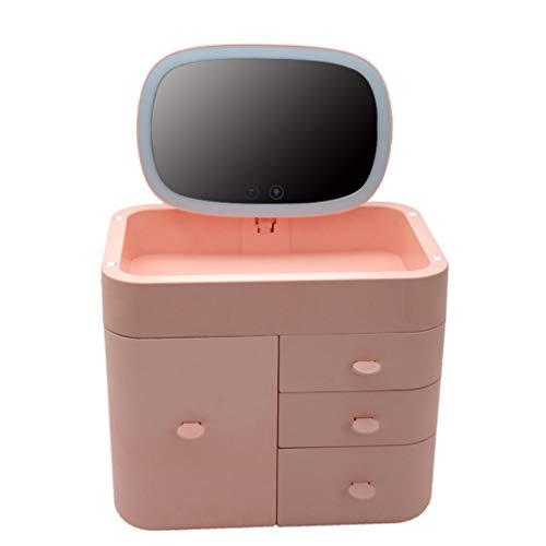 ZCJB Miroir Cosmétique,Miroir Multifonctionnel Cas Cosmétique de Vanité de Beauté Maquillage SK1826 (Couleur : Pink, Taille : A)