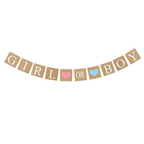 EASY JOY Babyparty Girlande Girl or Boy Babyshower Banner Braun Taufe Dekoration (Girl or Boy)