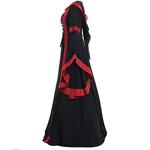 KangCat Women's Vintage Celtic Medieval Floor Length Renaissance Gothic Cosplay Dress Trumpet Sleeves Retro Gown Black