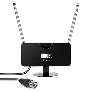 Antena TV Interior TDT Portatil Digital HD Potente – August DTA230 – DVB-T2 UHF Alta Ganancia Telescopica Autocaravana Cable 2m