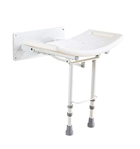 CAIS Shower Stool Foldable Wall Bath Stool Aluminum Alloy Wall-Mounted Shower Seat Stool Adjustable Height Security Bath Chair for Elderly Bathroom Stool - White - Load-Bearing 115Kg Bathroom B