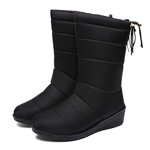 Botas de Nieve Zapatos Mujer,Popoti Botas de Nieve Calientes Botines Forradas Cortas Cuña Boots Medias Borla Zapatos Invierno Outdoor Botines (Negro-A, 37)