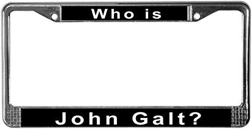 Fhdang Decor Who Is John Galt? Marco Cromado para Placa de matrícula, Soporte para Placa de matrícula, Accesorios para Auto de 6 x 12 Pulgadas